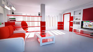 white ceiling ixed red painted room wall combined with white