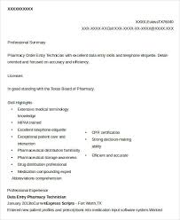 Pharmacy Technician Resume Examples by Data Entry Resume 5 Free Word Pdf Documents Download Free