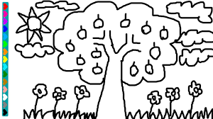 drawing apple tree coloring page learn colors game for kids