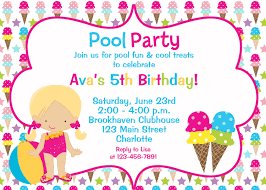 Invitation Cards For Birthday Party Printable Pool And Ice Cream Party Birthday Invitation Pool Party