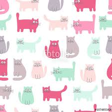 funny colors cute cats vector seamless pattern with funny cats color background