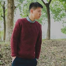 Burgundy Cardigan Mens Cable Striped Rib Pullover Men Long Sleeved Sweater Tops 3029