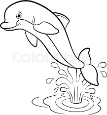 coloring pages marine wild animals little cute dolphin jumps