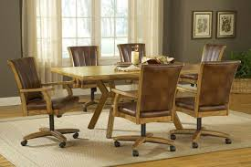 rustic leather kitchen dining chairs set for 6 with wheels and