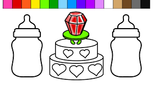 learn colors for kids and color this ring pop heart birthday cake