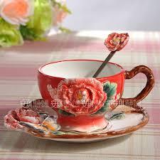 Decorating Porcelain Mugs Tea Coffee Font B Mug B Font Ceramic Red Peony Flower Milk Font B Mug B Jpg