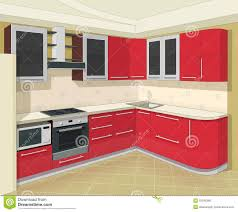 used kitchen furniture kitchen interior with furniture stock vector illustration of