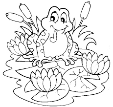 frog sitting lilypads lotus flower coloring pages batch