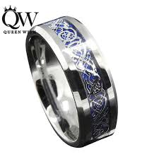 celtic dragon rings images Silver and blue celtic dragon ring queenwish 8mm tungsten jpg