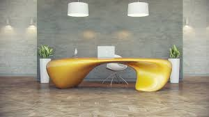 furniture light yellow futuristic office desk with indoor plants