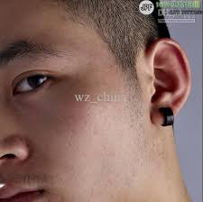 mens earings 316l black stainless steel stud hoop mens earrings wz 0006