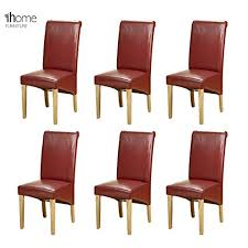 Red Dining Chair 6 X 1home Leather Red Dining Chair W Oak Finish Wood Legs Roll Top