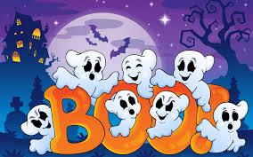 creepy cool halloween background halloween funny ghosts creepy house bats boo full moon art vector