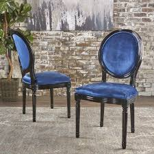 Noble House Dining Chairs Noble House Diana Navy Blue Velvet Dining Chairs Set Of 2 Black