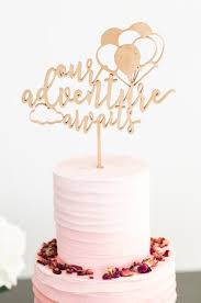 cake toppers for baby showers our adventure awaits gold cake topper one 6 wood laser cut