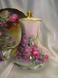 Nippon Hand Painted Vase Chocolate Pot With Hand Painted Roses U0026 Gold Chocolate Pots