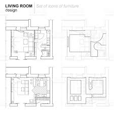 architectural plan of living room with kitchen stock vector art