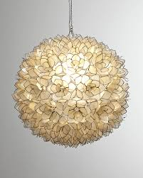 Beachy Chandeliers Home Accessories Glamorous Capiz Shell Chandelier In Ball Shape