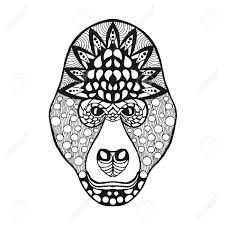 gorilla head antistress coloring page black white hand