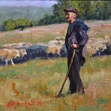 old world shepherd by albin veselka oil 8 x 8