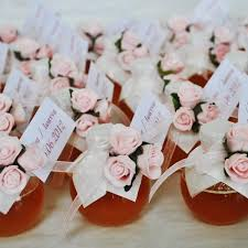 honey jar wedding favors wedding honey jar decorated with three pink roses gg100 prices
