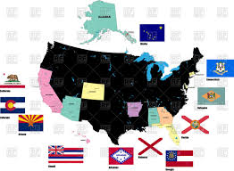 Map Of Usa States by Outline Of Map Of Usa With Alaska And Flags Of States Vector Image