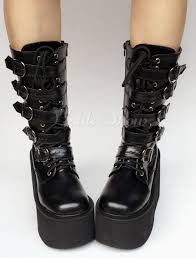 lace up motorcycle boots lolitashow platform boots black wedge buckle lace up round