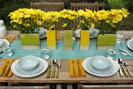 dining table arrangement yellow flower arrangement for colorful dining room decor with rustic
