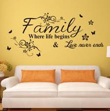 living room wall stickers family where life begins love never ends english proverbs wall
