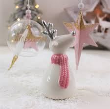 rebecca christmas ceramic reindeer with pink scarf love unique