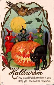 1920s vintage halloween postcard witches black cat owl jack o