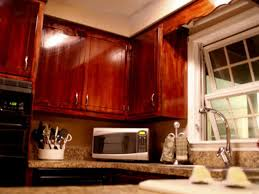 kitchen appealing stained kitchen cabinets design idea red