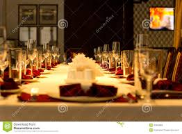 Setting Formal Dinner Table Dining Table Set With Elegant Place Settings Stock Photo Image