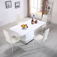 high gloss white mdf extendable dining table kitchen w stainless