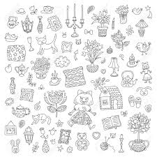 sweet home interior home sweet home set of hand drawn vector home interior doodles