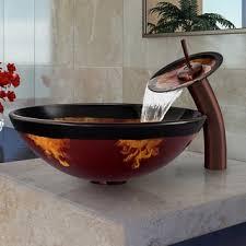 vigo auburn mocha fusion glass vessel sink and waterfall faucet
