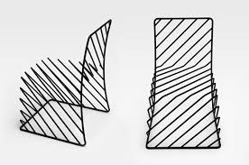 minimal black wire chair by nendo