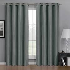 Single Blackout Curtain Gulfport Gray Grommet Faux Linen Blackout Weave Window Curtain