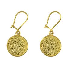 gold plated earrings minoan phaistos disk drop earrings silver gold plated culturetaste