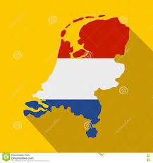 Flag Of Netherlands Map Of Netherlands With Dutch Flag Icon Stock Vector