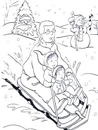 winter coloring pages for kids with sledding in the snow page