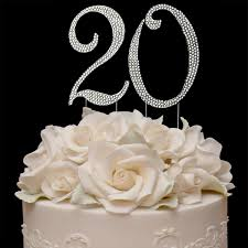 buy 20th birthday cake topper sparkling crystals bling