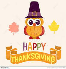 retro thanksgiving day card design with owl in pilgrim