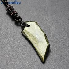 natural stone necklace wholesale images Wholesale gold black natural obsidian stone necklace wolf tooth jpg