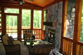 screened porch with fireplace fireplace in a screened in porch in