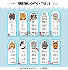 multiplication tables for children vector multiplication table printable bookmarks stickers stock