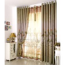 decorative lotus floral pattern dark green living room curtains