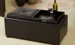 collection in leather storage ottoman with tray with harley