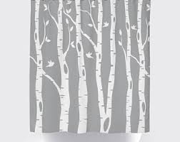 birch shower curtain etsy