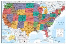 map of us states poster usa united states large map wall chart poster new laminated